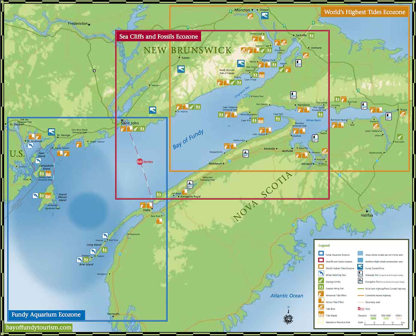 Bay of Fundy Ecozones map