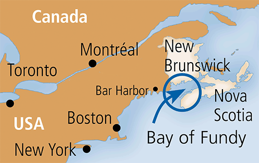 Canada Map Bay Of Fundy Bay of Fundy, map of North America   Bay of Fundy